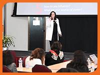 Woman giving presentations